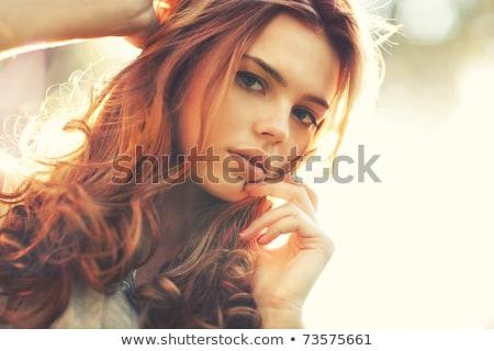 bela · mulher · porta · sorrir · feliz · casa - foto stock © ilolab