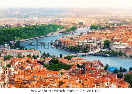 karlov or charles bridge and river vltava in prague in summer stock photo © bloodua