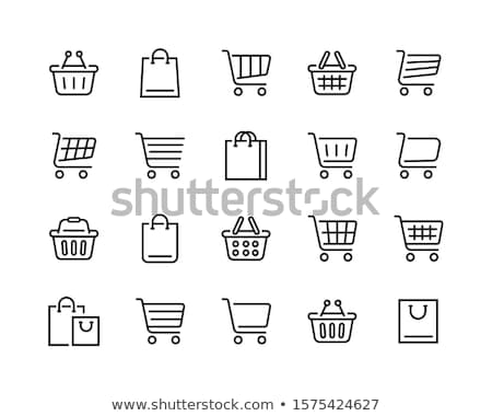 sziluett · kosár · online · bolt · ikon · bevásárlókocsi · lineáris - stock fotó © littlecuckoo