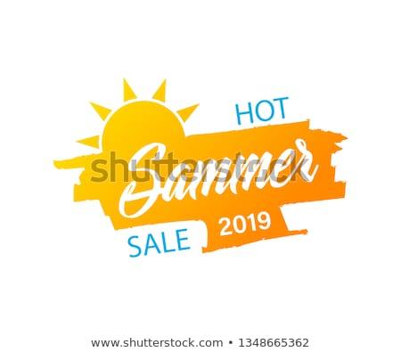 hot summer price with sun sign yellow and orange drawn label stock photo © marinini
