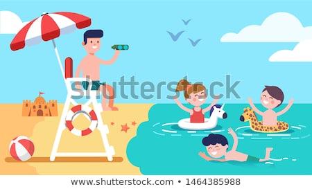 emberek · élvezi · tengerpart · úszómester · torony · Miami - stock fotó © meinzahn