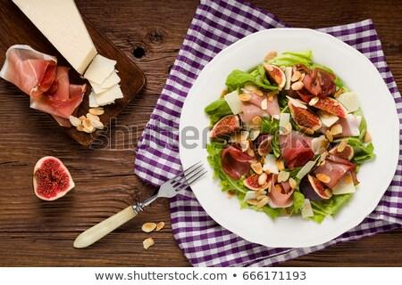 Saláta prosciutto füge háttér étel edény Stock fotó © M-studio