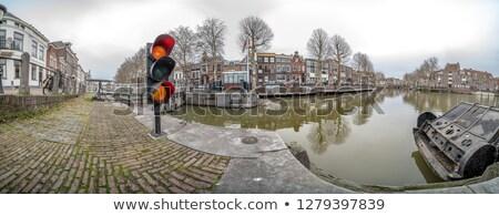 Vue maisons canal Pays-Bas arbre ville Photo stock © gigra