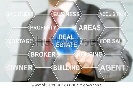 Onroerend business collage hand home sleutel Stockfoto © fantazista