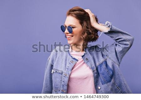 violet woman shorts on white background stock photo © ozaiachin