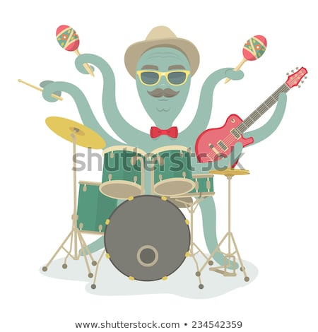 Hipster Octopus Plays Music Stock photo © vectorikart