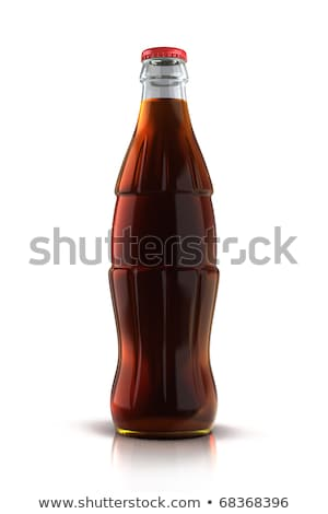 Сток-фото: Glass Bottle Of Cola Soda Isolated On A White Background