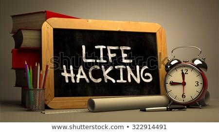 Leven hacking schoolbord tijd Stockfoto © tashatuvango