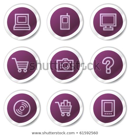 часто задаваемые вопросы Purple вектора икона кнопки веб Сток-фото © rizwanali3d