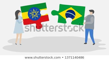 Brasile Etiopia bandiere puzzle isolato bianco Foto d'archivio © Istanbul2009