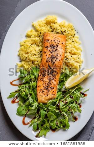 fresco · salmão · peixe · limão · salada · folhas - foto stock © digifoodstock