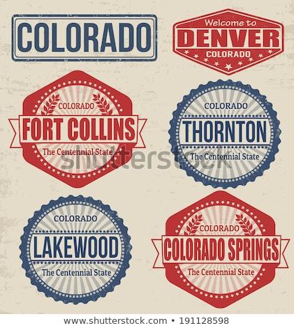 Gumi tinta bélyeg Colorado szöveg Stock fotó © Bigalbaloo