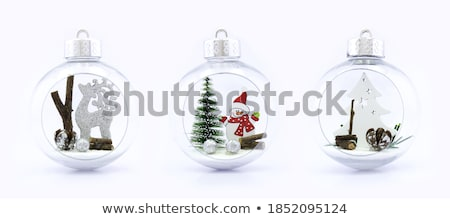 Christmas Decoration with White Ball in the Snow on the White Background. Greeting Card stock photo © maxpro