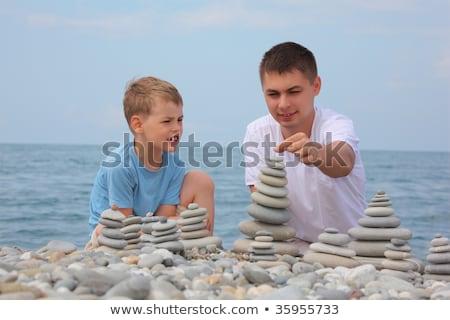 criança · mentiras · praia · bebê · cara - foto stock © paha_l
