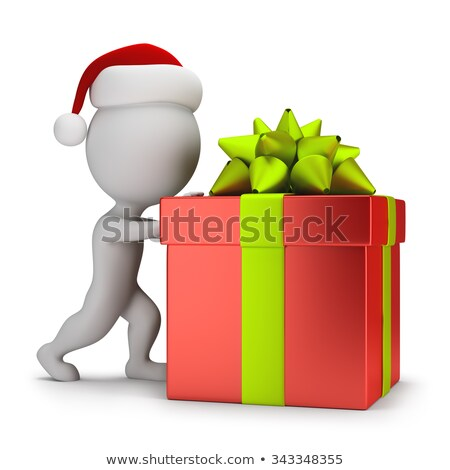 3d small people - Santa pushing a gift Stock photo © AnatolyM