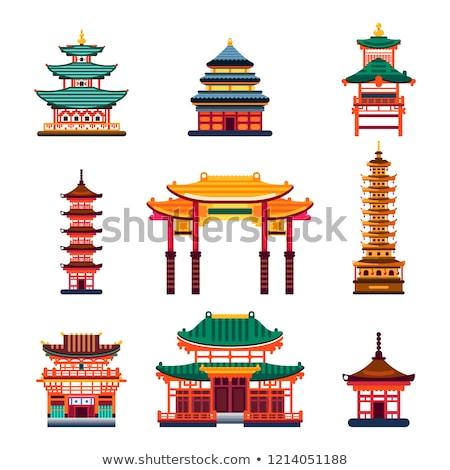 ősi pagoda Kína tájékozódási pont történelmi égbolt Stock fotó © bbbar