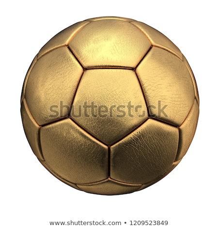 Złoty piłka nożna trawy 3d placu obraz Zdjęcia stock © Koufax73
