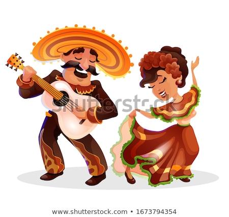 Mexicaanse meisje sombrero dansen witte vrouw Stockfoto © Elnur