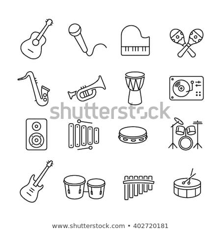 барабан инструмент линия икона уголки веб Сток-фото © RAStudio