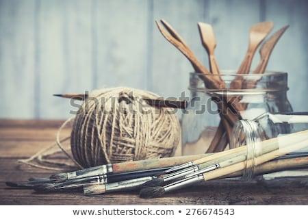 Pincéis manchado madeira usado colorido Foto stock © ozgur