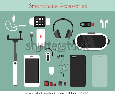 Hoofdtelefoon digitale tablet usb kabel leggen Stockfoto © Novic
