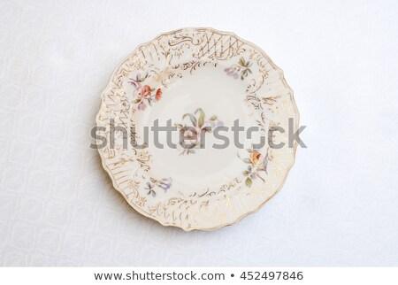 Decoratief vintage porselein plaat dessert restaurant Stockfoto © nasonov