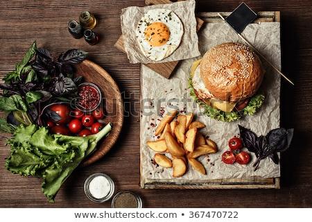 ストックフォト: 緑 · サラダ · フライド · チーズ · マヨネーズ · 食品