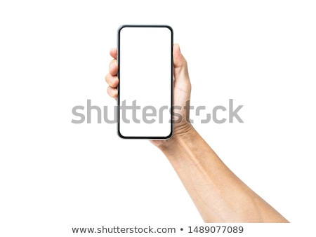 masculina · mano · teléfono · móvil · hasta · Screen - foto stock © deandrobot