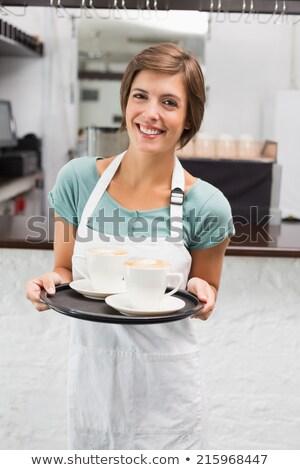 Serveerster dienblad restaurant illustratie witte Stockfoto © bluering