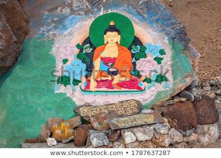 Buddha schilderij rock Blauw olie Rood Stockfoto © bbbar