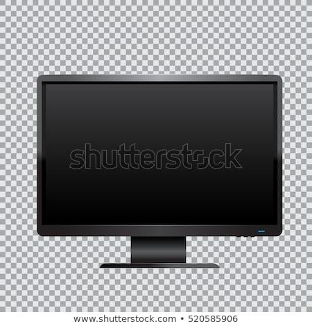 Siyah bilgisayar monitörü arkadan görünüm iletişim Internet Stok fotoğraf © robuart