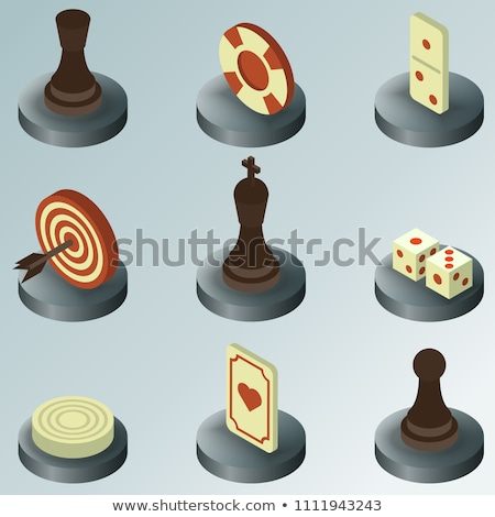 white chess piece pawn isometric vector illustration stock photo © kup1984