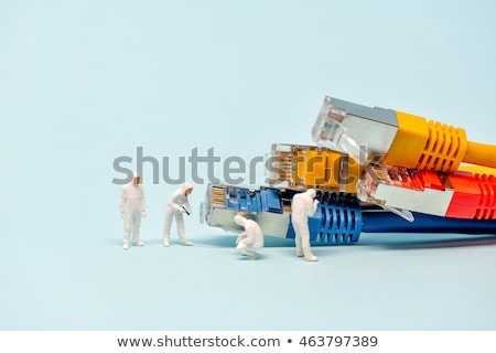 technicians with multicolored network cables stock photo © kirill_m