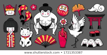Geisha bambola illustrazione fiori cinese Natale Foto d'archivio © adrenalina