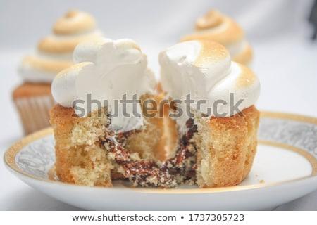 Pudding Zitrone Cupcake Vanillepudding weiß Essen Stock foto © Digifoodstock