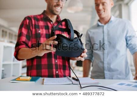 Felnőtt üzletember védőszemüveg headset interaktív futurisztikus Stock fotó © stevanovicigor