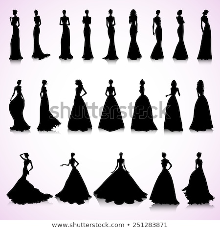 Stockfoto: Trouwjurk · bruid · silhouet · bruiloft · illustratie · witte