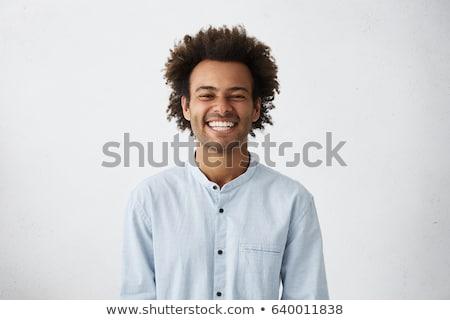 Portré fiatalember boldog arckifejezés mutat narancs Stock fotó © master1305