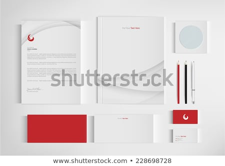 corporate identity business template design set with orange blue Stock photo © SArts