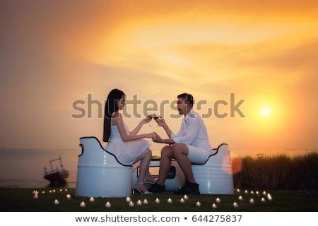champagne · trouwring · ingesteld · binnenkant · glas · vragen - stockfoto © wavebreak_media