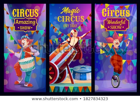 Circus scene with magician and rides Stock photo © bluering