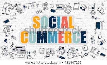 Sociale commerce witte moderne lijn stijl Stockfoto © tashatuvango