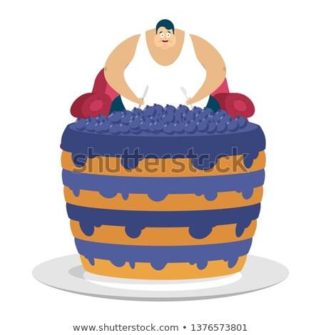 Gordura cara sessão cadeira bolo Foto stock © popaukropa