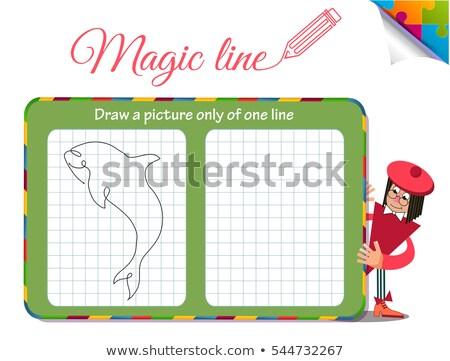 Disegnare foto uno line pesce squalo Foto d'archivio © Olena