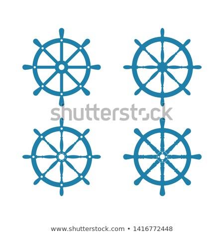 Stuur silhouet geïsoleerd schip witte reizen Stockfoto © popaukropa