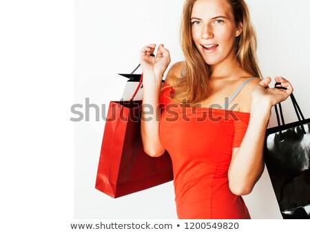 sexy · feliz · mujer · vestido · rojo · compras · regalo - foto stock © nobilior