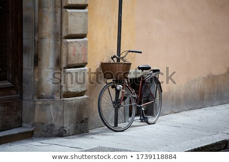 Fahrrad · Blumen · rot · Jahrgang · legen · Holz - stock foto © givaga