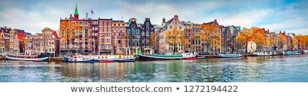 evler · Amsterdam · Hollanda · köprü · kanal · ayna - stok fotoğraf © dirkr