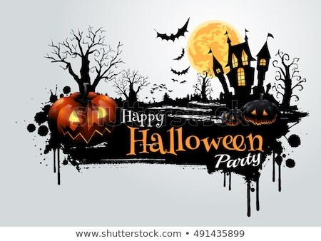happy halloween vector illustration with bats and cemetery on orange background holiday design for stock photo © articular
