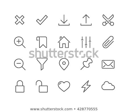 cloud download line icon stock photo © rastudio
